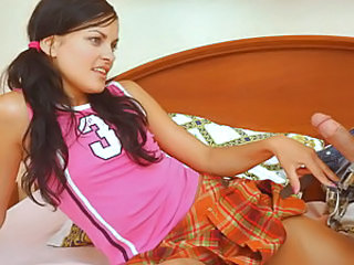 Slim brunette teen Linda teases her boyfriend in a bright pink top and an orange plaid skirt. She decides it's finally time for her to try his big dick and takes it out for her first ever blowjob. After sucking it with passion, sexy teen Linda gets the ha