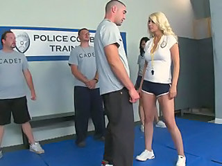 Police cadet fucks training babe
