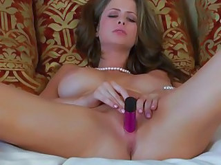Hot as fuck Emily Addison toys her dripping twat