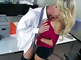 Tattooed blonde Sarah Jessie is hot and sexy. She gives head and bares her big boobs before she offers her pussy to Johnny Sins. He licks her snatch and then she rides his meat pole.