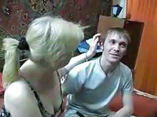 Russian mature woman fucked hard from young boy