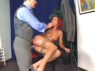 Oiled up redhead fucked in her slutty ass
