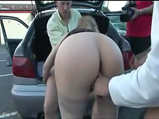 Girl in a public parking lot sucking and fucking
