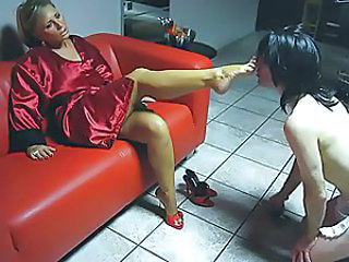 Made to lick her toes