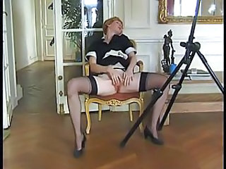 maid rubbing her pussy to orgasm