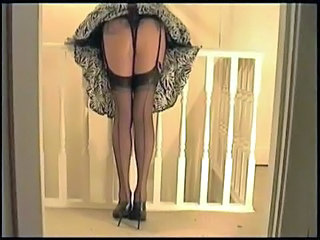 Black Thong Nylon Stockings