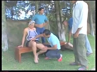 Brazilian Gangbang Maid Orgy Outdoor Uniform