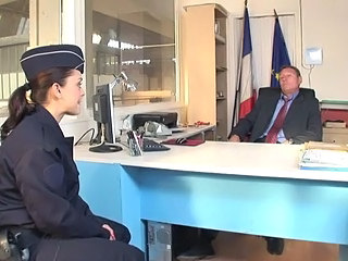 Amazing Brunette European French Office Uniform