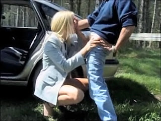 Blonde Blowjob British European Outdoor