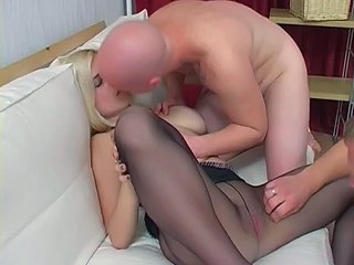 Amateur Big Tits Blonde Kissing Pantyhose Threesome