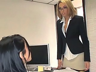Babe Blonde Bus Glasses Office Secretary