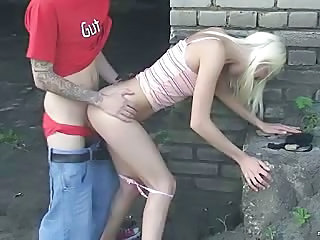 Blonde Doggystyle Hardcore Outdoor Russian Skinny Teen