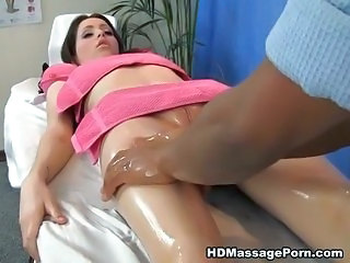 Oil massage naked with sexy brunette babe