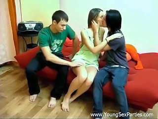 Pretty Teen Gets Stuffed By Two Guys