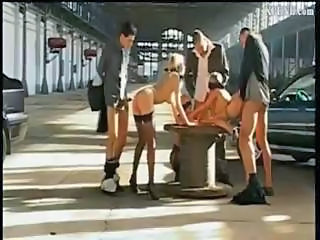 Group Sex Orgy In A Covered Parking Lot With Lots Of Fucking