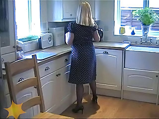 Slut Milf Housewife In Blue Silk Fully Fashioned Stockings