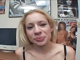 Blonde blowing cock and swallowing cum snack