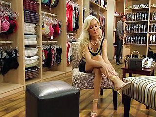 Elegant Blonde Diana Doll Chooses Shoes