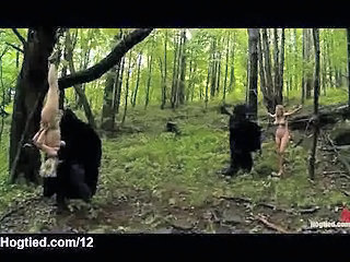 Bound Extended Babes Fucked In Forest By Masked Men
