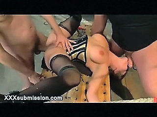 Busty Bound Babe Anal Gangbanged And Mouth Gagged