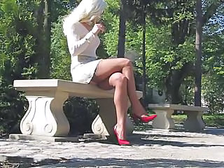 Amazing Blonde Legs Outdoor Stockings