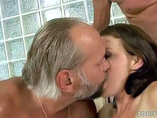 Brunette Kissing Old and Young Threesome