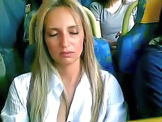 Amateur Blonde Bus Long hair MILF Public