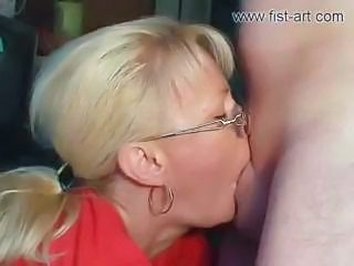 Blonde Blowjob Deepthroat Extreme Glasses MILF Pornstar
