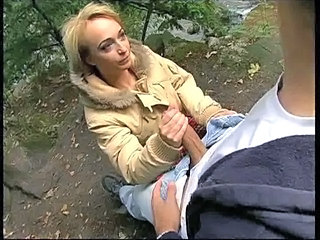 Blonde European German Handjob MILF Outdoor