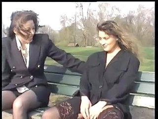 Lesbian Masturbating MILF Outdoor Public Stockings