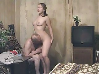 Brunette Licking Old and Young Russian
