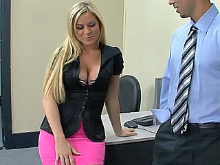 Amazing Big Tits Blonde Long hair Office Pornstar