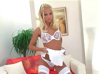 Babe Blonde Lingerie Panty Pornstar Stockings