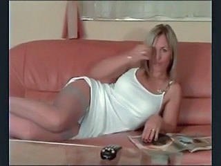 Milf in white lingerie and...