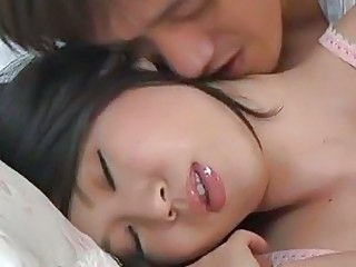 Asian Babe Kissing Pornstar Sleeping