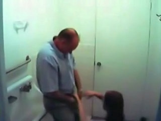Old fart sucked off by a teen in the washroom on hidden cam