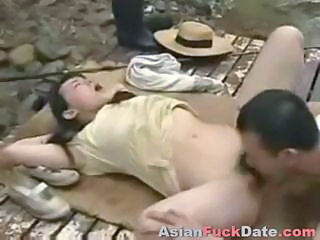 Amateur Chinese Hairy Licking Outdoor