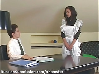 Brunette Maid Russian Uniform