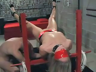 Beautiful Blonde Slave Is Tied Down And Drilled In All Her Holes