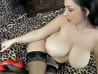 Busty Classy Milf In Stockings With A Toy