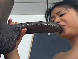 Asian Babe Big cock Blowjob Handjob Interracial