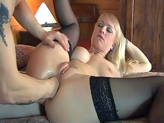 Anal Blonde Fisting MILF Natural Pussy Stockings