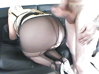 Hot and sexy blonde MILF fucked in sexy black panythose