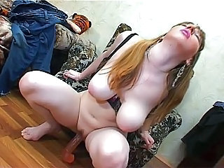 Big Tits Brunette Dildo Long hair Masturbating Russian