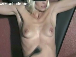 MIlf slave is spanked on her ass while she jerksoff other slave until he until he until he cums