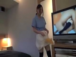 asian hotel maid getting