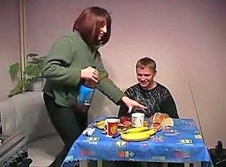 Mother helps son relax after school