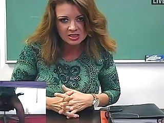 Busty MILF teacher masturbates in sexy black stockings