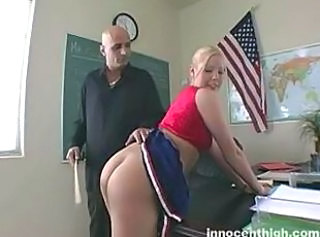 Big tited blonde cheerleader with pierced nipples gets spanked by her teacher