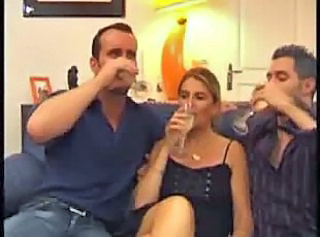 After glass of champagne sultry wife takes hubby and his friend coc...